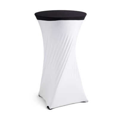 Bar Table Cover - White Lycra with Black Top