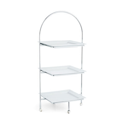 Cake Stand - Square Three Tiered Chrome Stand