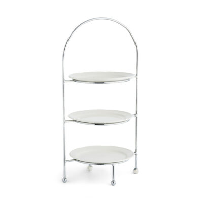 Cake Stand - Round Three Tiered Chrome Stand