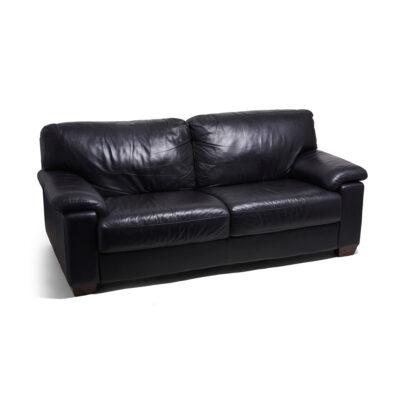 Premium Leather Lounge 3 Seater - Black